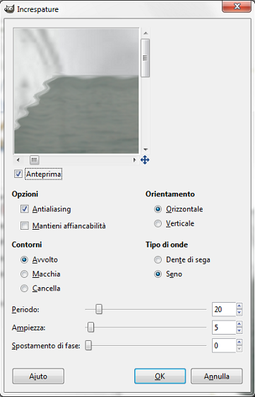 Il filtro Increspature in Gimp