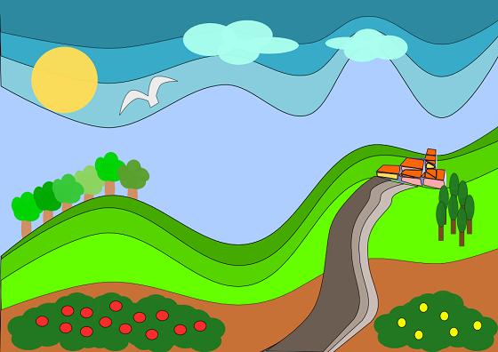Un paesaggio in stile cartoon con inkscape csi multimedia for Paesaggi semplici da disegnare