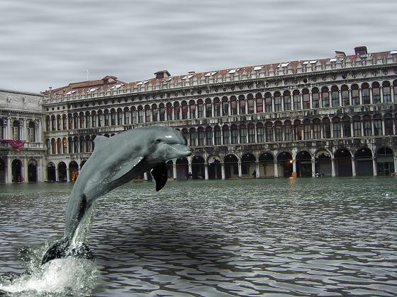 Il delfino in piazza realizzato con Gimp