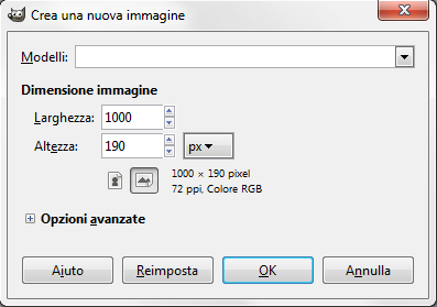 Inseriamo le dimensioni del documento in Gimp